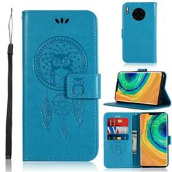 Intricate Embossing Owl Campanula Leather Wallet Case for Huawei Mate 30 Pro - Blue