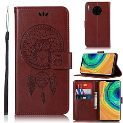Intricate Embossing Owl Campanula Leather Wallet Case for Huawei Mate 30 Pro - Brown