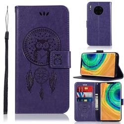 Intricate Embossing Owl Campanula Leather Wallet Case for Huawei Mate 30 Pro - Purple