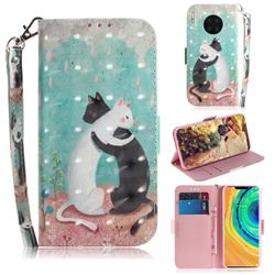 Black and White Cat 3D Painted Leather Wallet Phone Case for Huawei Mate 30 Pro
