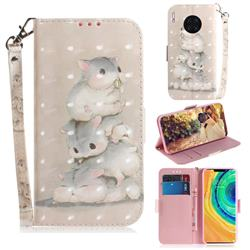 Three Squirrels 3D Painted Leather Wallet Phone Case for Huawei Mate 30 Pro