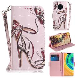 Butterfly High Heels 3D Painted Leather Wallet Phone Case for Huawei Mate 30 Pro