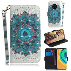 Peacock Mandala 3D Painted Leather Wallet Phone Case for Huawei Mate 30 Pro