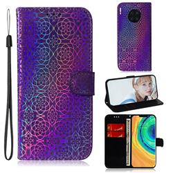 Laser Circle Shining Leather Wallet Phone Case for Huawei Mate 30 Pro - Purple