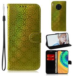 Laser Circle Shining Leather Wallet Phone Case for Huawei Mate 30 Pro - Golden