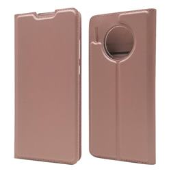 Ultra Slim Card Magnetic Automatic Suction Leather Wallet Case for Huawei Mate 30 Pro - Rose Gold