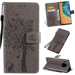 Embossing Butterfly Tree Leather Wallet Case for Huawei Mate 30 Pro - Grey