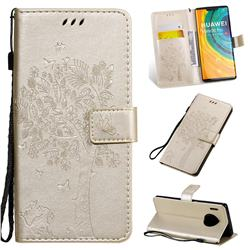 Embossing Butterfly Tree Leather Wallet Case for Huawei Mate 30 Pro - Champagne