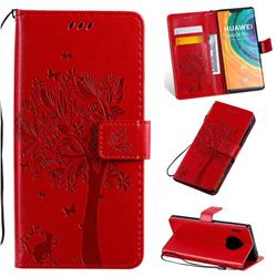 Embossing Butterfly Tree Leather Wallet Case for Huawei Mate 30 Pro - Red