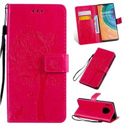 Embossing Butterfly Tree Leather Wallet Case for Huawei Mate 30 Pro - Rose