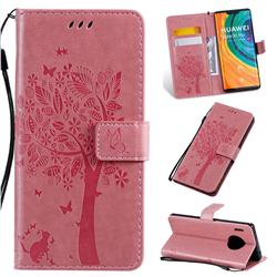 Embossing Butterfly Tree Leather Wallet Case for Huawei Mate 30 Pro - Pink