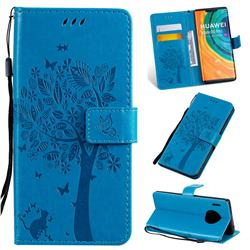 Embossing Butterfly Tree Leather Wallet Case for Huawei Mate 30 Pro - Blue