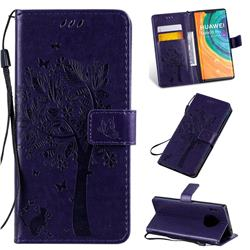 Embossing Butterfly Tree Leather Wallet Case for Huawei Mate 30 Pro - Purple