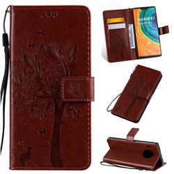 Embossing Butterfly Tree Leather Wallet Case for Huawei Mate 30 Pro - Coffee