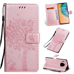 Embossing Butterfly Tree Leather Wallet Case for Huawei Mate 30 Pro - Rose Pink