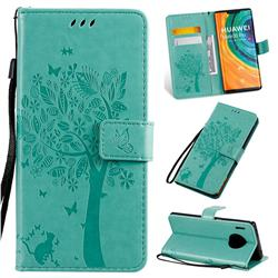 Embossing Butterfly Tree Leather Wallet Case for Huawei Mate 30 Pro - Cyan