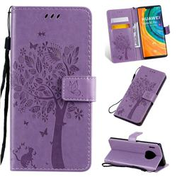 Embossing Butterfly Tree Leather Wallet Case for Huawei Mate 30 Pro - Violet