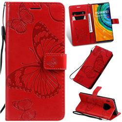 Embossing 3D Butterfly Leather Wallet Case for Huawei Mate 30 Pro - Red