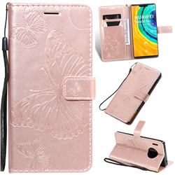 Embossing 3D Butterfly Leather Wallet Case for Huawei Mate 30 Pro - Rose Gold