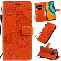 Embossing 3D Butterfly Leather Wallet Case for Huawei Mate 30 Pro - Orange