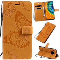 Embossing 3D Butterfly Leather Wallet Case for Huawei Mate 30 Pro - Yellow