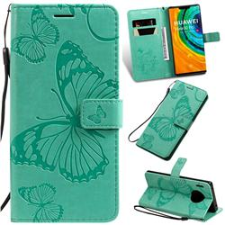 Embossing 3D Butterfly Leather Wallet Case for Huawei Mate 30 Pro - Green