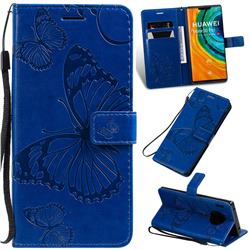 Embossing 3D Butterfly Leather Wallet Case for Huawei Mate 30 Pro - Blue