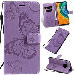 Embossing 3D Butterfly Leather Wallet Case for Huawei Mate 30 Pro - Purple