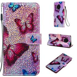 Blue Butterfly Sequins Painted Leather Wallet Case for Huawei Mate 30 Pro