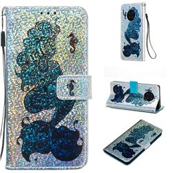 Mermaid Seahorse Sequins Painted Leather Wallet Case for Huawei Mate 30 Pro