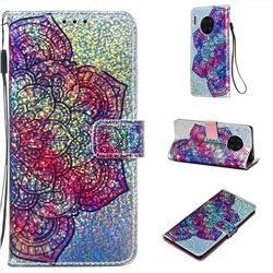 Glutinous Flower Sequins Painted Leather Wallet Case for Huawei Mate 30 Pro