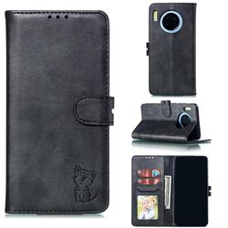 Embossing Happy Cat Leather Wallet Case for Huawei Mate 30 Pro - Black
