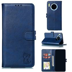 Embossing Happy Cat Leather Wallet Case for Huawei Mate 30 Pro - Blue
