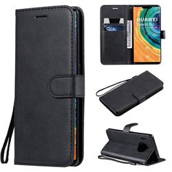 Retro Greek Classic Smooth PU Leather Wallet Phone Case for Huawei Mate 30 Pro - Black