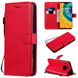 Retro Greek Classic Smooth PU Leather Wallet Phone Case for Huawei Mate 30 Pro - Red