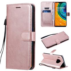 Retro Greek Classic Smooth PU Leather Wallet Phone Case for Huawei Mate 30 Pro - Rose Gold