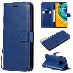 Retro Greek Classic Smooth PU Leather Wallet Phone Case for Huawei Mate 30 Pro - Blue