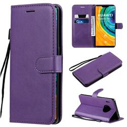 Retro Greek Classic Smooth PU Leather Wallet Phone Case for Huawei Mate 30 Pro - Purple