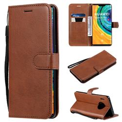 Retro Greek Classic Smooth PU Leather Wallet Phone Case for Huawei Mate 30 Pro - Brown