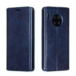 Retro Slim Magnetic Crazy Horse PU Leather Wallet Case for Huawei Mate 30 Pro - Blue