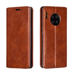 Retro Slim Magnetic Crazy Horse PU Leather Wallet Case for Huawei Mate 30 Pro - Brown