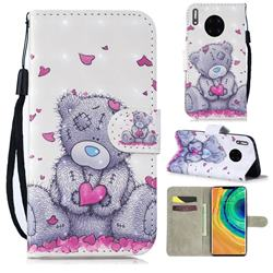 Love Panda 3D Painted Leather Wallet Phone Case for Huawei Mate 30 Pro
