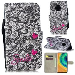 Lace Flower 3D Painted Leather Wallet Phone Case for Huawei Mate 30 Pro