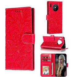 Intricate Embossing Lace Jasmine Flower Leather Wallet Case for Huawei Mate 30 Pro - Red
