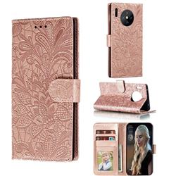 Intricate Embossing Lace Jasmine Flower Leather Wallet Case for Huawei Mate 30 Pro - Rose Gold
