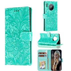 Intricate Embossing Lace Jasmine Flower Leather Wallet Case for Huawei Mate 30 Pro - Green