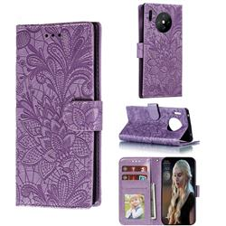 Intricate Embossing Lace Jasmine Flower Leather Wallet Case for Huawei Mate 30 Pro - Purple
