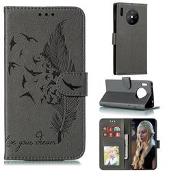Intricate Embossing Lychee Feather Bird Leather Wallet Case for Huawei Mate 30 Pro - Gray