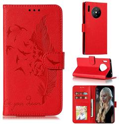 Intricate Embossing Lychee Feather Bird Leather Wallet Case for Huawei Mate 30 Pro - Red