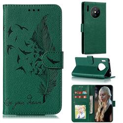 Intricate Embossing Lychee Feather Bird Leather Wallet Case for Huawei Mate 30 Pro - Green